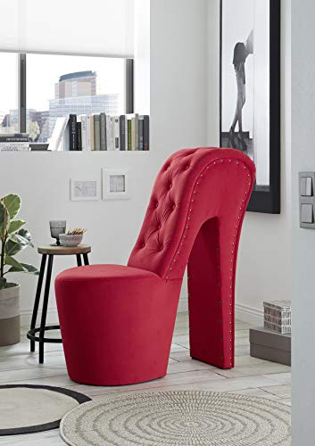 Generisch Schuhsessel Retro-Look Knopfsteppung Sessel Stuhl High Heel (Trinity rot 9)