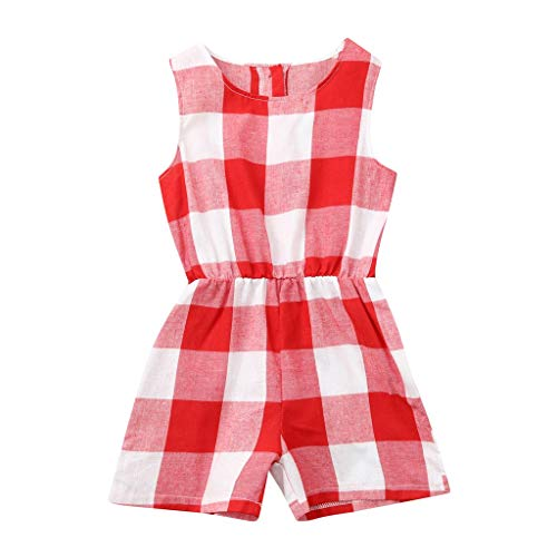 Read About Baby Plaid Print Jumpsuit, Children's Summer Romper Matching Clothes Sleeveless Fashion R...