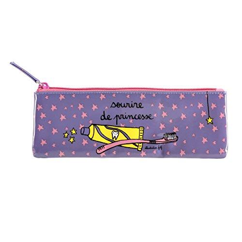 """Derrière La Porte - Estuche para cepillo de dientes, diseño con texto """"sourire de princesse"""", color violeta y rosa"""