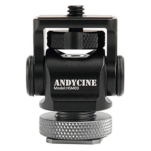 ANDYCINE Mini Hot Schoen Mount, [Bijgewerkt Versie 1.2] 176 Graden Bovenste Rotatie 360 Graden Base Rotaties Draaibaar met Schroef Fixture Tools Box Origineel Verpakt