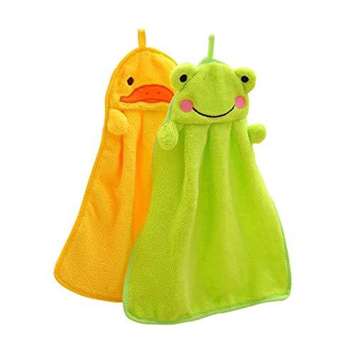 SwirlColor 2X Cartoon Coral Fleece Hanging Handtuch Kinder küchenhandtuch Handtücher für Küche