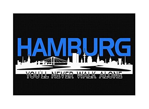 Hamburg Skyline Premium Leinwand | Keilrahmen Bild Gemälde Wandbild (60 x 40 cm)
