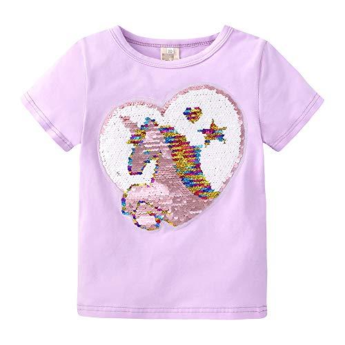 NCTCITY Niñas Unicornio T-Shirts Reversible Lentejuelas Brillantes Camisetas de Manga Corta de Verano Cuello Redondo tee Tops Estampado Camisa Suelta Casual para Bebé Niños