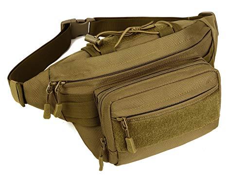 Yakmoo Bolsa de Riñonera Multifuncional Estilo Militar Táctico Bolso de Cintura o Bandolera Impermeable al Aire Libre
