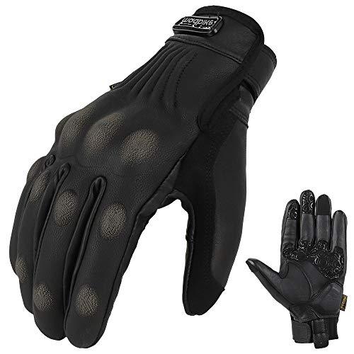MADBIKE Motorcycle Gloves Waterproof Goatskin Leather Touchscreen Hard Knuckle for Men Women (Black,L)