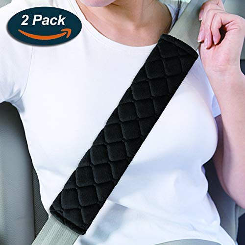 Seat Belt Pads, Lookka Comfort Car Harness Pads with Hook and Loop, Travel Cushion Car Seat Belt Cover (2 Pack)