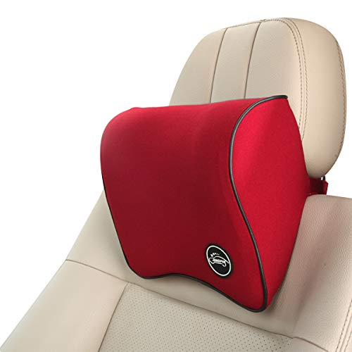 Ergocar Posture Therapy Memory Foam Neck Pillow & Lumbar Cushion - Lower Back Support Cushion,Lumbar Support Pillow, Back Cushion For Home, Office, Car, Travel And Back Pain (Red)