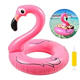 Ninonly Aufblasbarer Flamingo Pool Schwimmring, Flamingoring ca. 110 cm Schwimmring Flamingo aufblasbar Pool für Erwachsene und Kinder