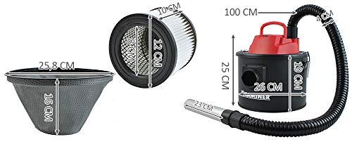 Kaminer Aspirador de cenizas eléctrico con 2 sistema de filtros Hepa 6317 para parrilla estufa 10L (800W)