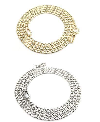 Bandolera de metal con hebillas para bolso de mano, bolso de hombro, accesorio de repuesto para cadena (dorado...
