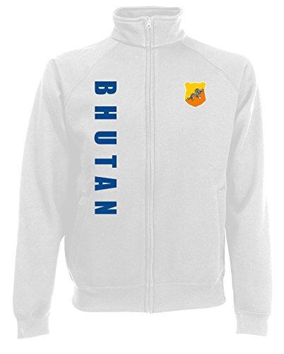 AkyTEX Bhutan Sweatjacke Jacke Trikot Wunschname Wunschnummer (Weiß, M)