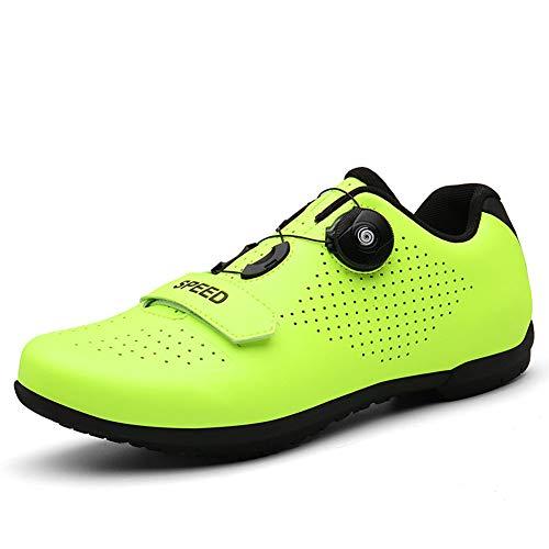 Fahrradschuhe Herren Damen Anti-Skid Atmungsaktiv Radschuhe Rennradschuhe MTB Schuhe Flat Ohne Klicksystem Für Radfahren Mountain Road Biking,Grün,38 EU