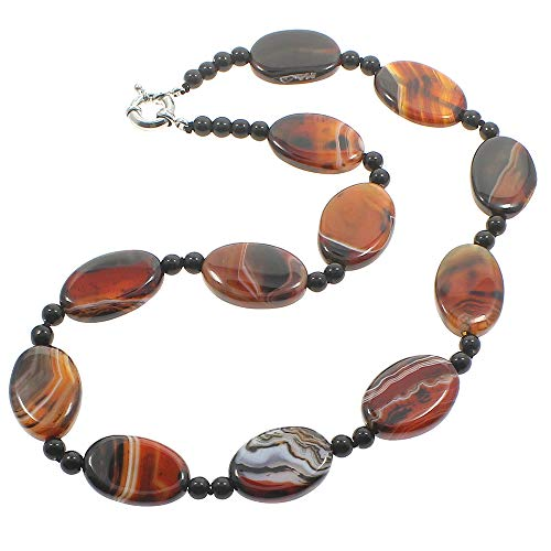 TreasureBay Iconic Women's Agate Gemstone Necklace Chain With Spring Ring Clasp - Presented in a Beautiful Jewellery Gift Box