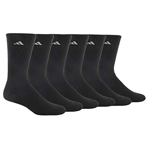 adidas Men's Athletic 6-Pack Crew Socks, Black/Aluminum 2, Large, (Shoe Size 6-12)