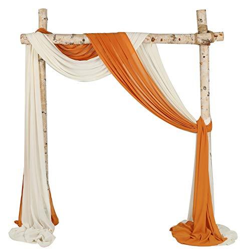 SHERWAY 2 Panels Chiffon Fabric Drapery Wedding Arch Drapes, Party Backdrop Curtain Panels, Ceremony Reception Swag Decoration (27 x 216 Inch, Orange & Ivory)