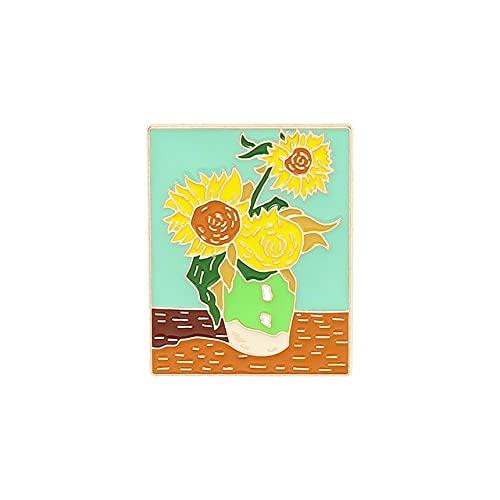 Vincent Willem Van Gogh Kunst, Selbstporträt, Emaille, Sonnenblume, Chrysantheme, Edward vergilbte Anstecknadel Ölgemälde