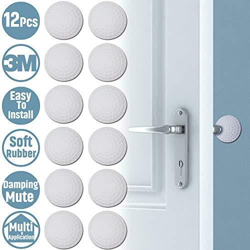 Huryfox Door Stopper Wall Protector-Silicone Doorknob Shield-12 Pack Self-Adhesive Door Bumper White 2 x 2 x 05