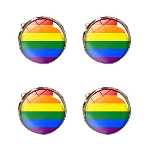 Amosfun Arco Iris Traje Gemelos Botones Orgullo Gay Mes Decoraciones Manga Gemelos...