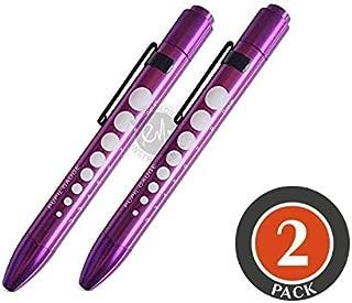 Aluminum LED Pupil Gauge Click Penlight (Purple x 2)