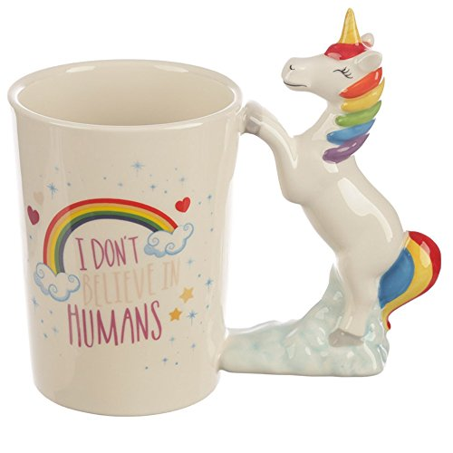 Keramik I Don 't Believe in Humans Einhorn geformter Griff Tasse