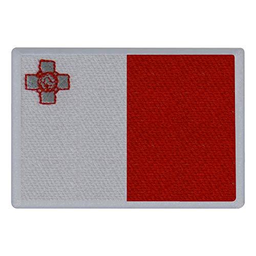FanShirts4u Aufnäher - Malta - Fahne - 8 x 5,5cm - Flagge Wappen Bestickt Patch Badge (weiße Umrandung)
