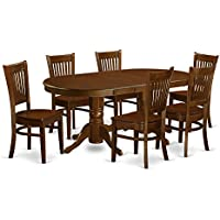 7-Piece East West Furniture Dining Room Set Table With Chairs