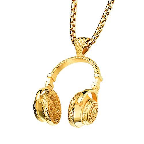 GuDeKe Acero Inoxidable Collar Colgante de Auriculares Joyas para Amantes de la música para los Hombres (Oro)