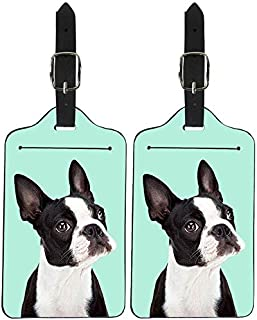 NDISTIN Green Cute Boston Terrier Luggage Tag Fashion Travel Suitcase Leather Instrument Baggage Bag Tags with Privacy Cov...