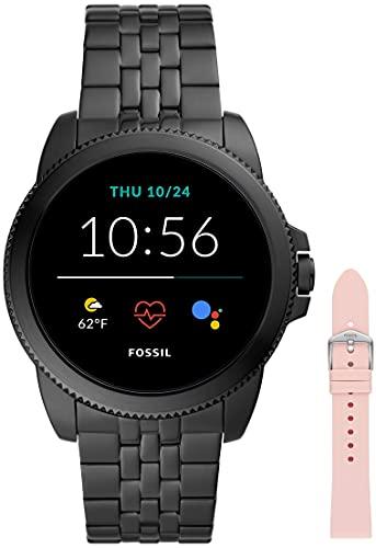 Fossil Smartwatch GEN 5E Connected da Uomo con Wear OS by Google, Notifiche per Smartphone e NFC, con Cinturino in Acciaio Inossidabile Nero+Cinturino dell'orologio Da donna, Rosa (Silicone)