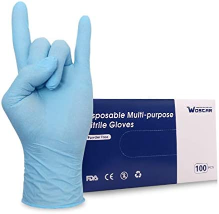 Wostar Nitrile Disposable Gloves 2 5 Mil Pack of 100 Latex Free Safety Working Gloves for Food product image