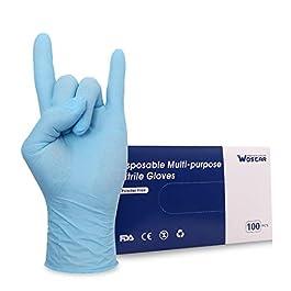 Nitrile Disposable Gloves Powder Free Latex 100Pcs 3Mil Disposable Exam Gloves