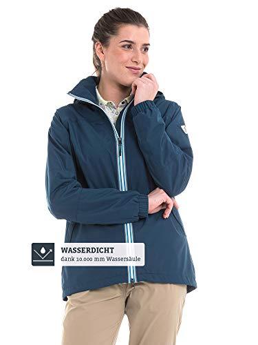Schöffel Damen Jacket Yokohama2 modische und wasserdichte Damen Jacke, bequeme Regenjacke für Frauen mit integrierter Sicherheitstasche, dress blues, 42