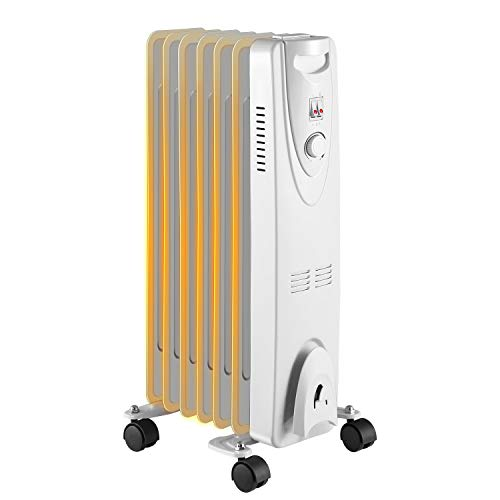 R.W.FLAME Space Heater Oil Filled Radiator Heater, 3 Heat Settings, Thermostat Adjustment Quiet Portable Heater with Tip-over & Overheating Functions White