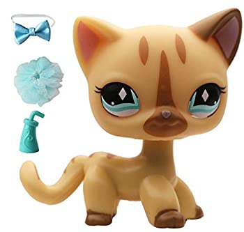 LPSBC LPS Shorthair Cat 886 Yellow KittyKitten Blue Diamonds Eyes Action Cartoon Pets Dog Puppy Figures Kids Toy Gift