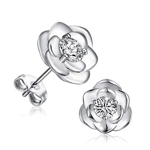 GEMSME 925 Sterling Silver Cubic Zirconia Flower Stud Earrings for Women (flower CZ)