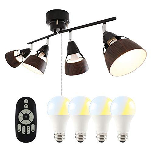 共同照明 シーリングライト 4灯 調光 調色 LED電球60W形付き リモコン操作 ブラウン GT-DJ-4QB-9WT-2 シーリングスポットライト E26 角度調節可 折り畳み 木目調 北欧 リビング照明 天井照明 おしゃれ 居間用 ダイニング照明 食卓用