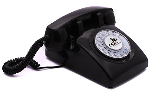 OPIS 60s Cable con Logo de Opis Technology: Teléfono Estilo Retro/teléfono Vintage de los años Sesenta con Disco de marcar (Negro)