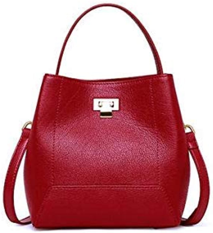 Genuine Leather Women Bucket Bag Women Handbags Cow Leather Crossbody Bag for Women 2018 Natural Leather Hand Bag Ladies Burgundy 20x12x20cm