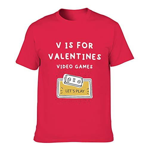 Camiseta de algodón para hombre con diseño de V para el día de San Valentín Red1 XXXXL