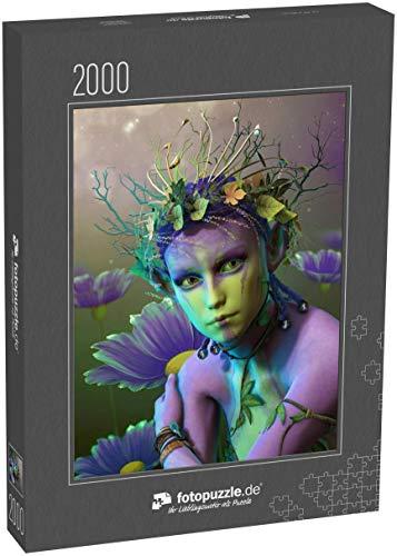 fotopuzzle.de Puzzle 2000 Teile 3D-Computergrafik Einer Fee mit einem Kranz aus Blättern und Zweigen auf ihrem Kopf