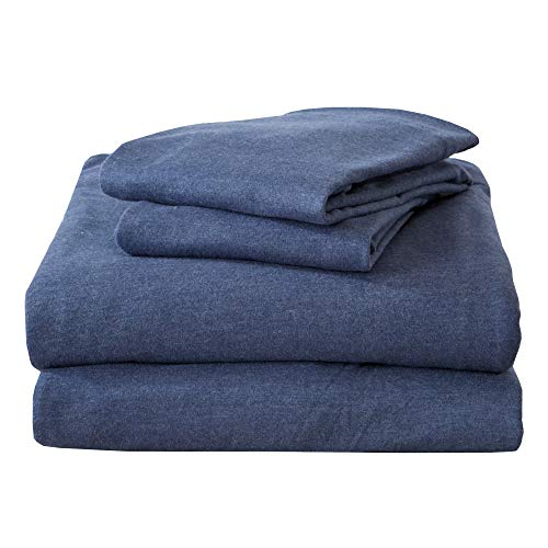 Queen Jersey Knit Sheets. All Season, Soft, Cozy Flannel Jersey T-Shirt Sheet Set. Cotton Blend Jersey Sheets. Cozy Flex Collection (Queen, Navy)