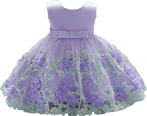 Little Baby Girl Dress Flower Ruffles Party Wedding Pageant Princess Purple Dresses