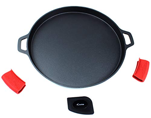Cast Iron Pizza Pan 1358quot PreSeasoned Baking Pan Cooking Griddle for Stove Grill BBQ and Oven  Including Silicone Hot Handle Holders and Scraper