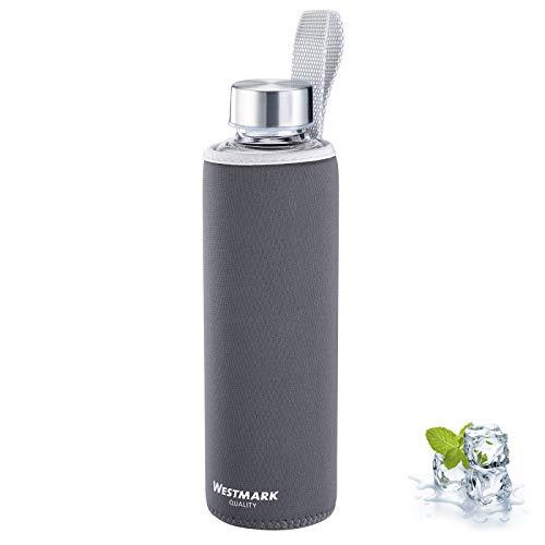 Westmark Trinkflasche, aus Glas mit Aufdruck, inkl. Schutzhülle, 550 ml, Glas/Silikon/Kautschuk, BPA-frei, Viva, Anthrazit/Silber/Klar, 5272226A