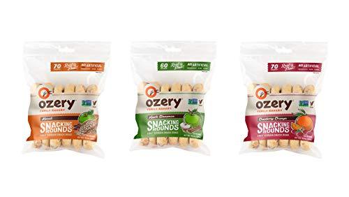 Ozery Bakery Snacking Rounds, Pita Bread, Variety Pack; Muesli, Apple Cinnamon, & Cranberry Orange (1 bag of each flavor)