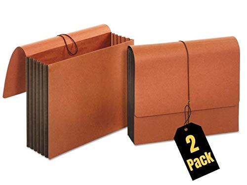"""1InTheOffice Expanding File Wallet with Flap and Cord Closure, 5-1/4"""" Expansion, Letterl Size, Redrope, 2 Pack"""