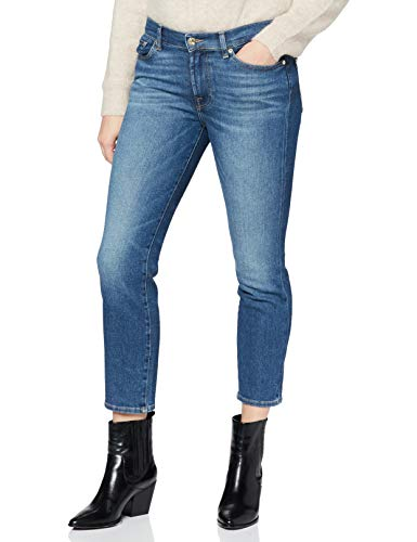 7 For All Mankind Roxanne Ankle Jeans, Mid Blu, 38 Donna