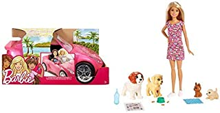 Barbie Glam Convertible AND Barbie Doggy Daycare Doll & Pets