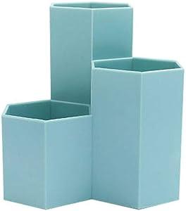 carduran Pen Container Organizer, Simple Hexagonal Penholder Pen Pencil Storage Box Case Desk for Student Office Supplies Blue