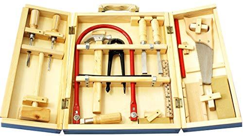 Spiel AG Holz Kinder Werkzeug-Koffer mit Laubsäge und echtem Werkzeug